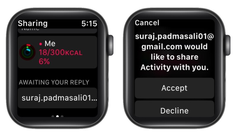 Accept activity Sharing invite from Apple Watch