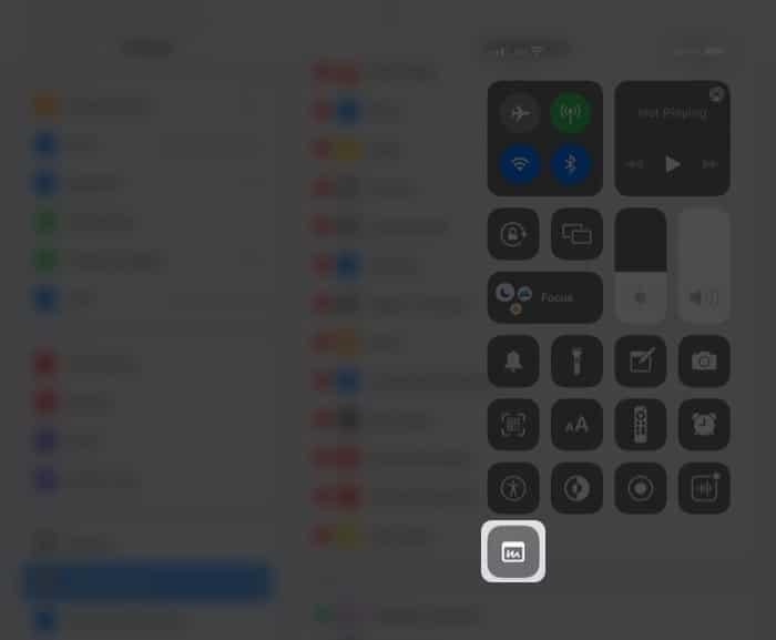 Greifen Sie über das Kontrollzentrum auf dem iPad auf Quick Note zu