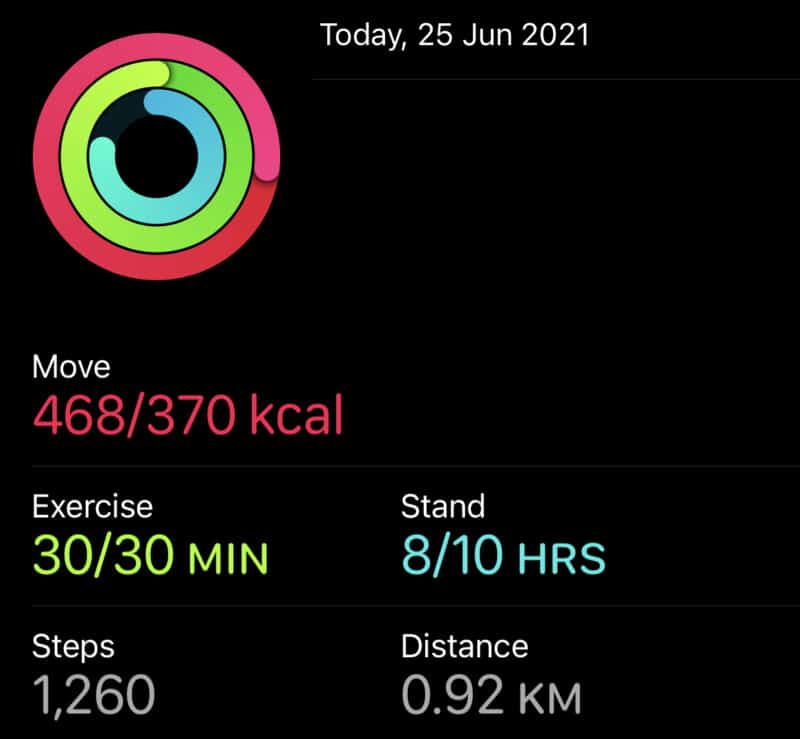 Activity Data that can shared from iPhone