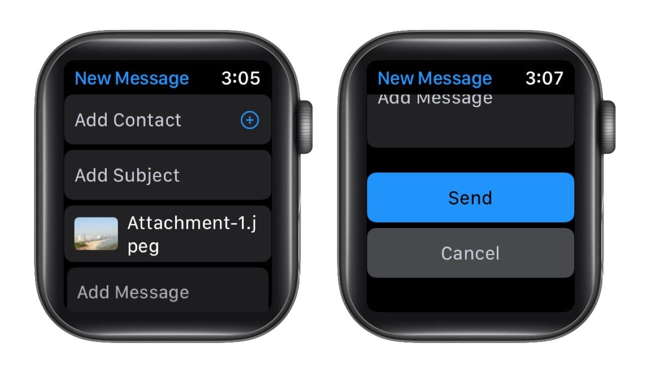 Kontakt hinzufügen und auf Senden klicken, um ein Foto von der Apple Watch zu teilen