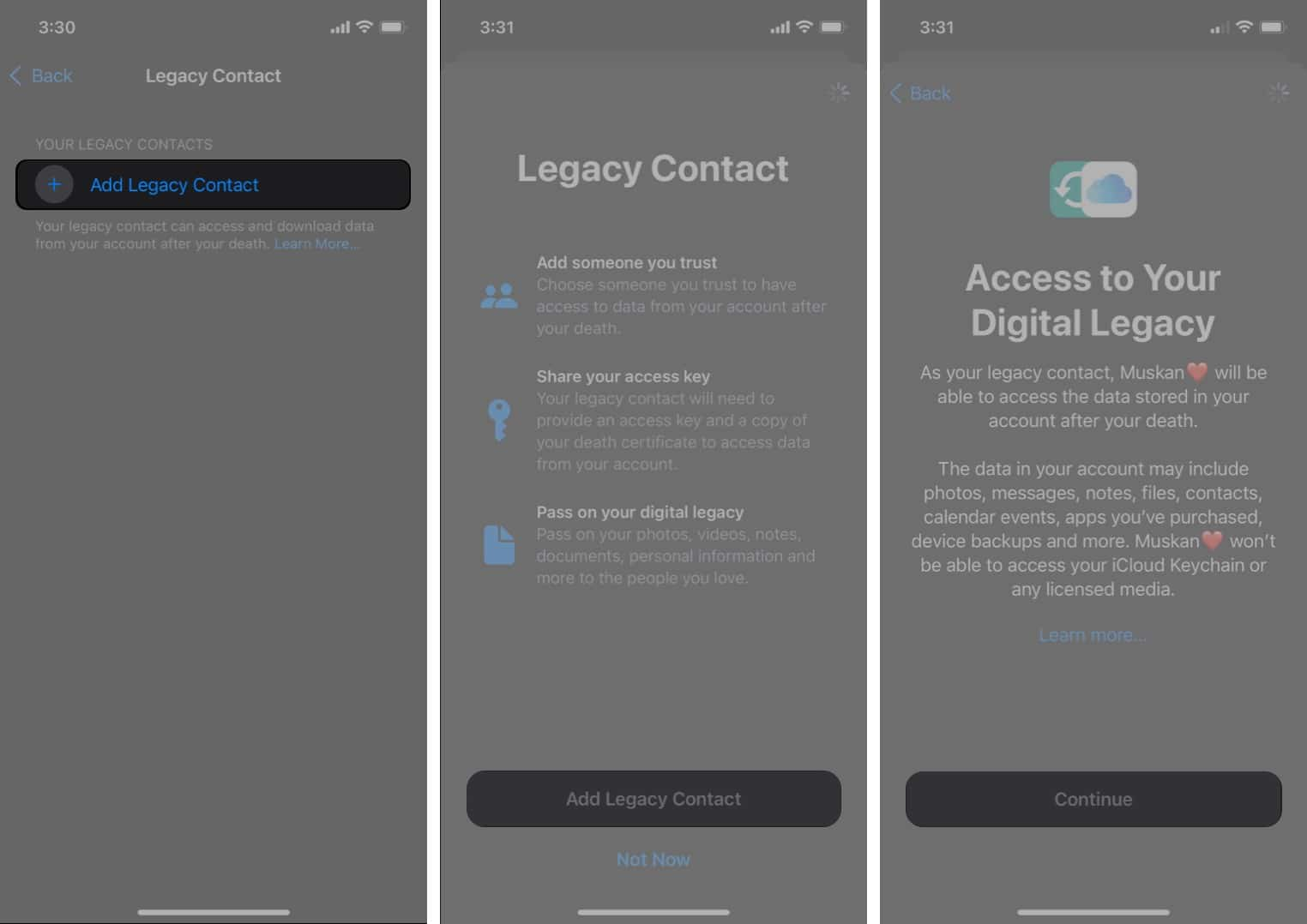 Add Digital Legacy contact on iPhone running iOS 15