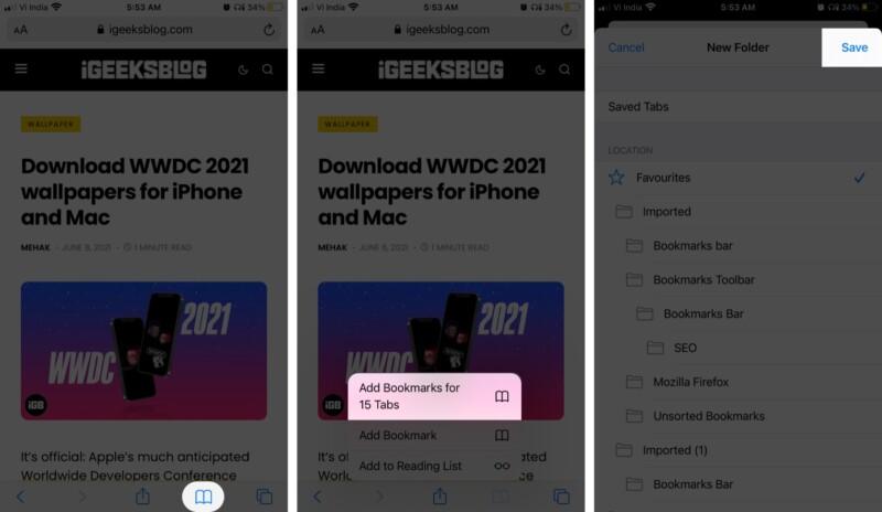 Fügen Sie alle Safari-Tabs zu Lesezeichen in iOS 14: iPadOS 14 oder früher hinzu