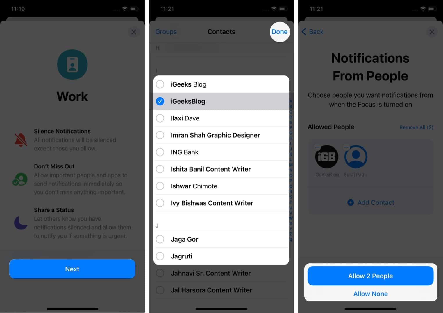 Fügen Sie Kontakte hinzu, von denen Sie Benachrichtigungen im iOS 15 Focus-Modus erhalten möchten