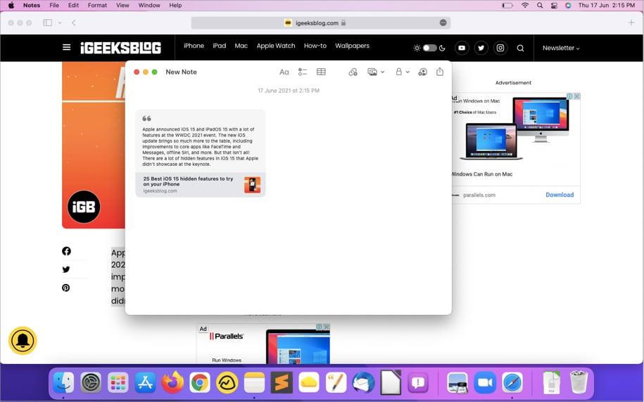 Text oder Bilder aus Safari zu Quick Notes hinzufügen