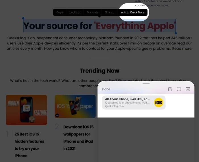 Hinzufügen von Text oder Bildern zu Quick Note auf dem iPad