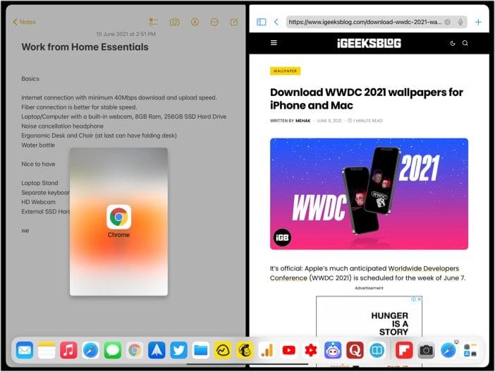 Adjust Split View Settings in iPadOS 14