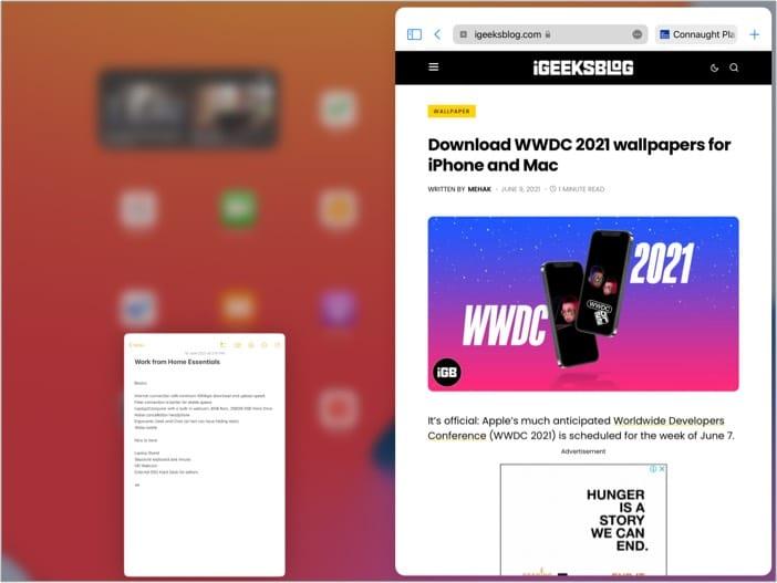 Adjust Split View Settings in iPadOS 15