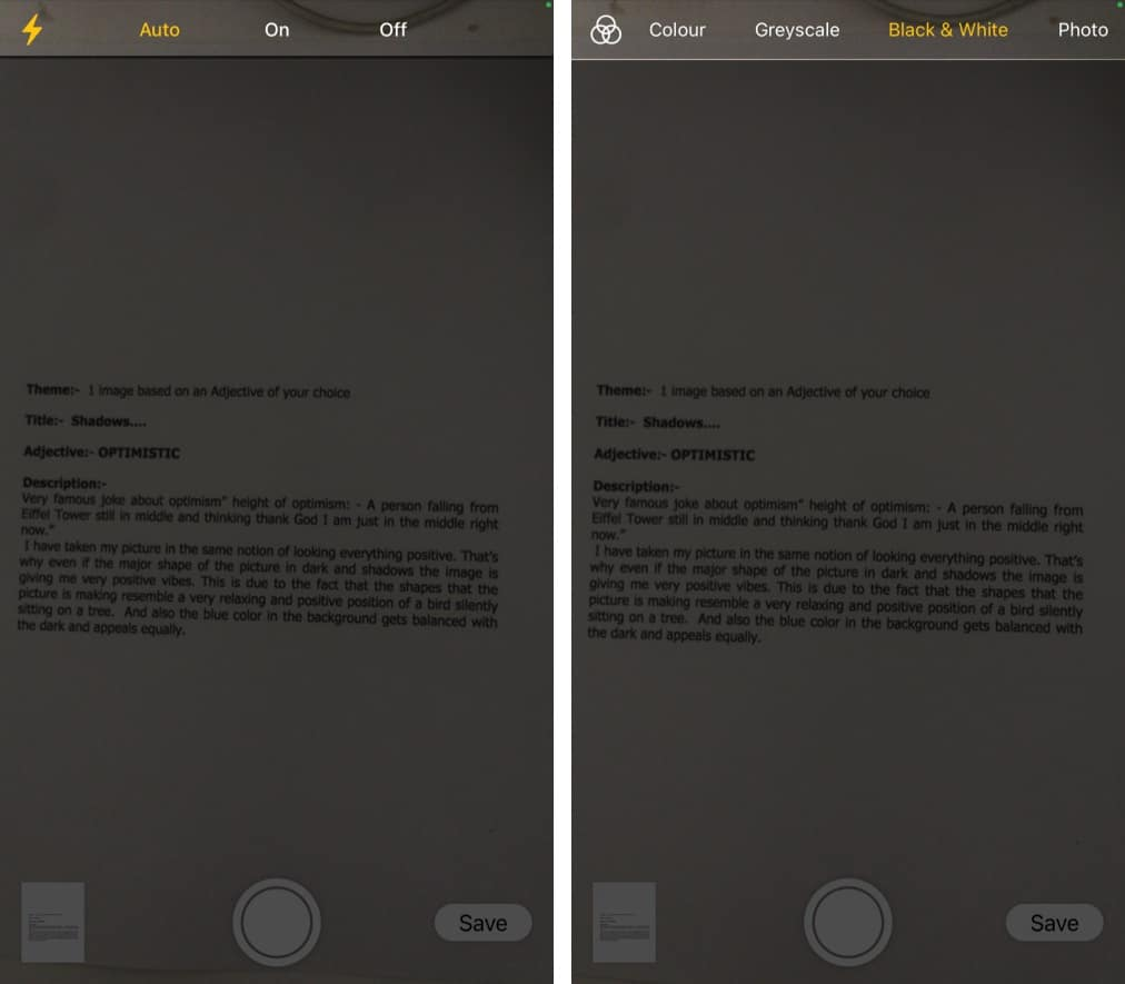 Adjust iPhone properly over the document to scan