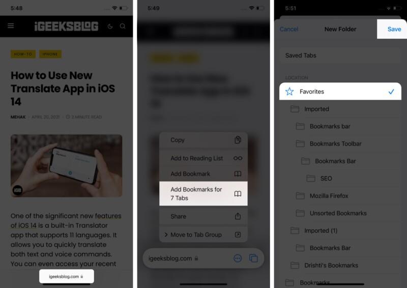 Lesezeichen für eine Gruppe von Safari-Tabs in iOS 15: iPadOS 15