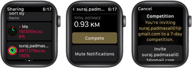 Challenge a friend using Apple Watch