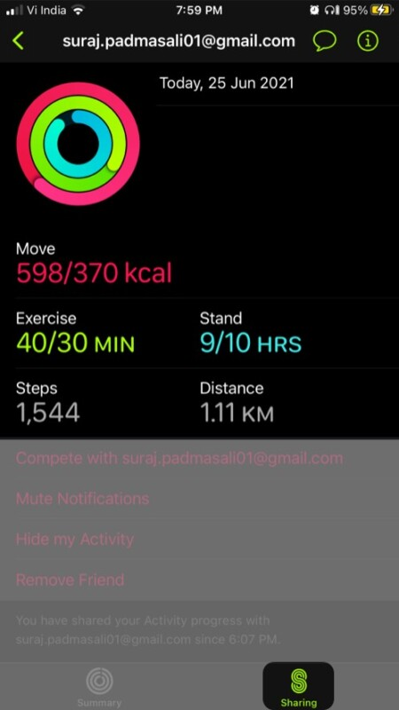 Check your friend's Activity progress from iPhone