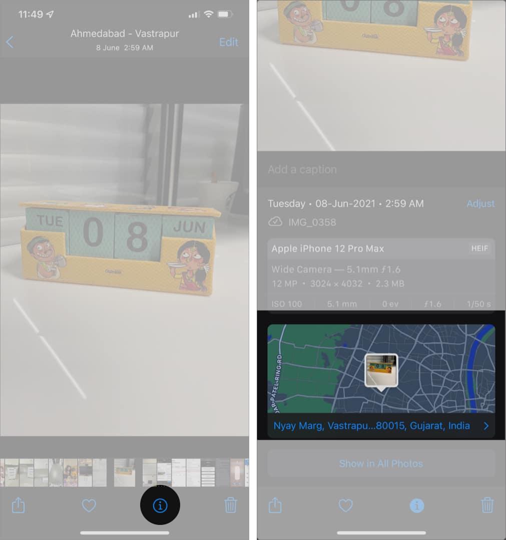 Выберите фотографию, хотите изменить местоположение, нажмите кнопку i в iOS 15