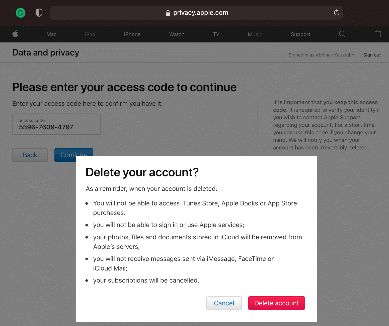 Click Delete account to delete your Apple ID account permanently.