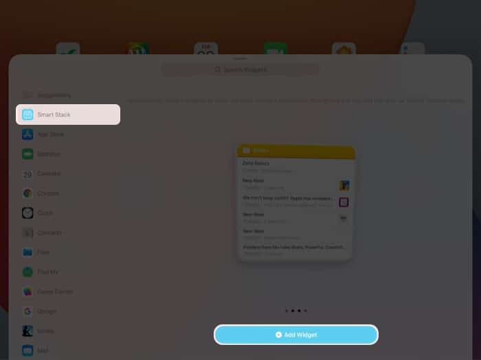Create smart stack widgets on iPad