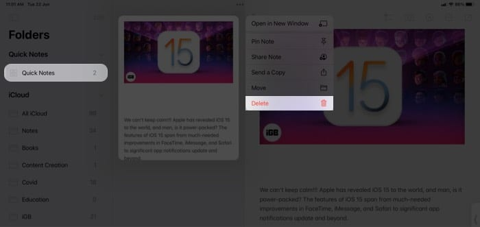 Schnellnotiz auf dem iPad löschen