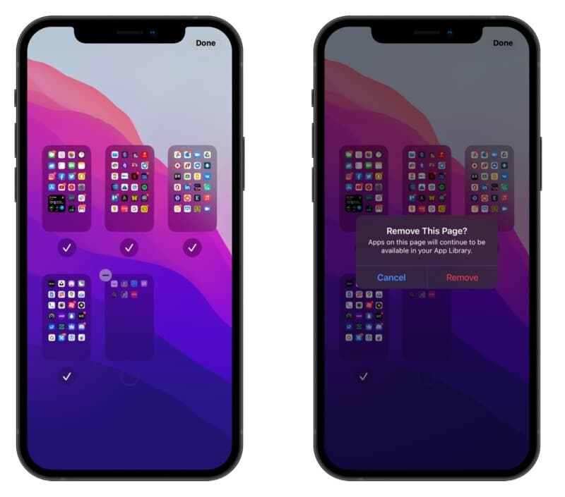 Delete home screen pages in iOS 15