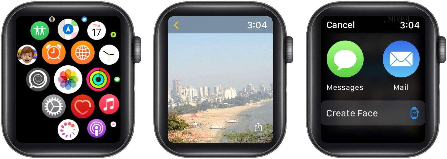 Senden Sie Fotos direkt von der Apple Watch mit der Nachrichten- oder Mail-App
