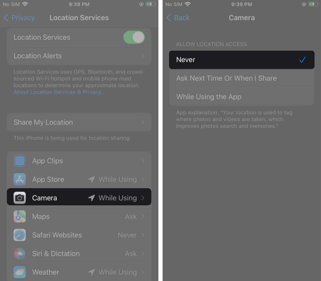 Disable geotagging for iPhone photos