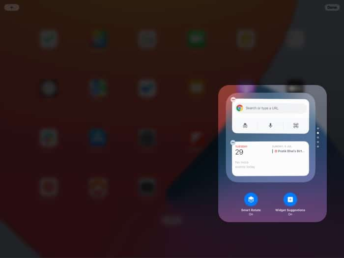 Disable or enable smart rotate from iPad widgets