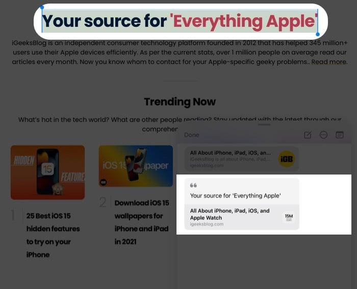 Ziehen Sie Text oder Bild per Drag & Drop in die Quick Note auf dem iPad