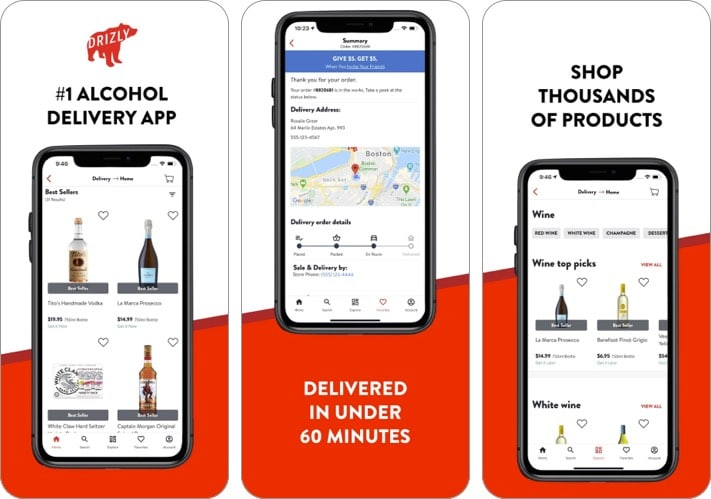 Drizly alcohol delivery iPhone app screenshot