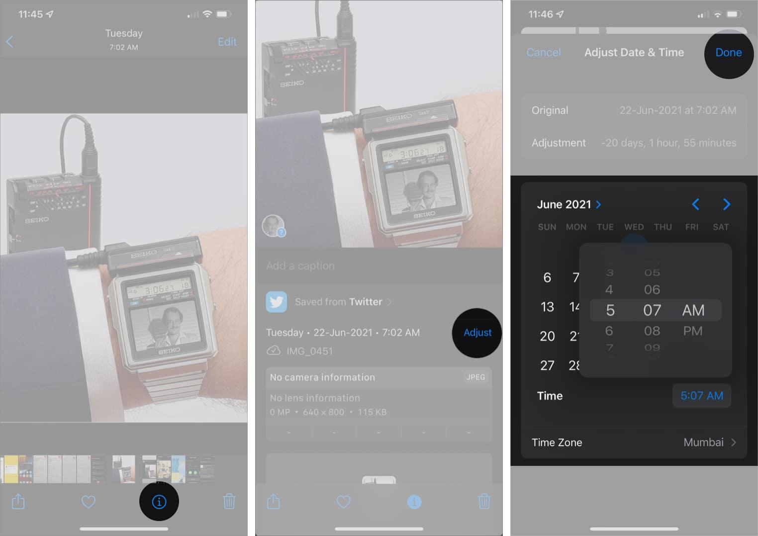 Редактировать дату и время на фотографиях или видео в iOS 15