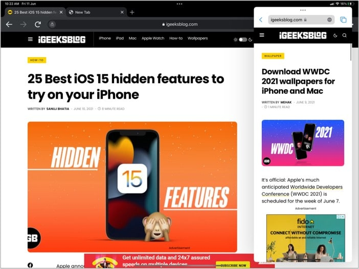 Enable Slide Over view on iPad