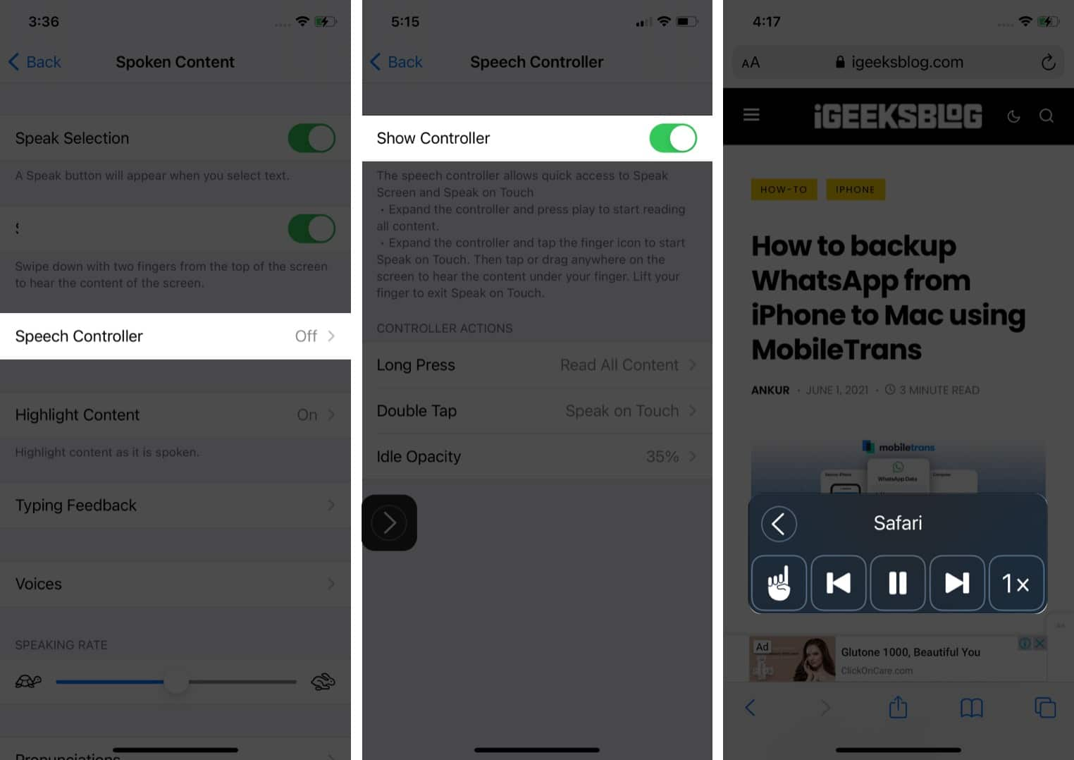 Enable Speech Controller to read text from Safari on iPhone