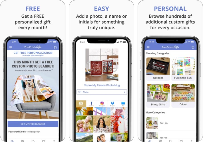 FreePrints gift giving iPhone app screenshot