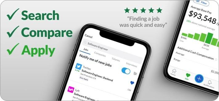 Glassdoor job search apps for iPhone screenshot