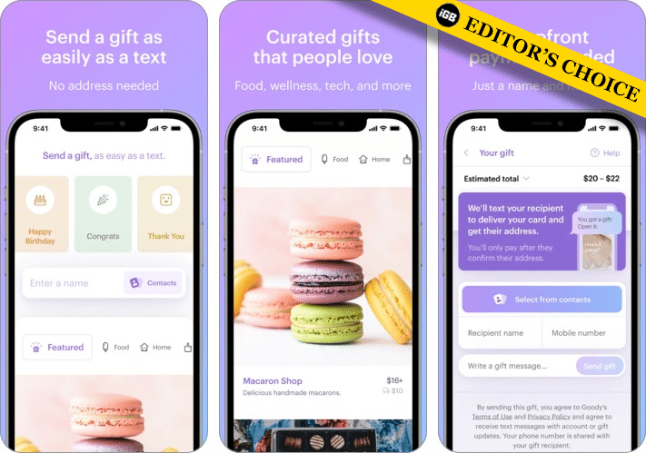 Goody gift giving iPhone app screenshot
