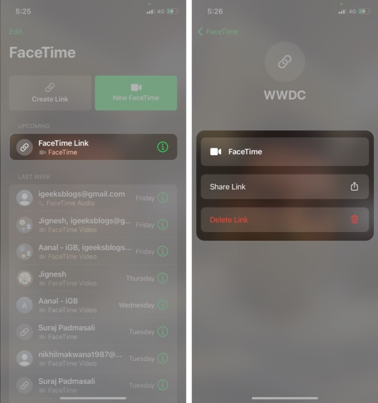 How to Share or Delete FaceTime link on iPhone