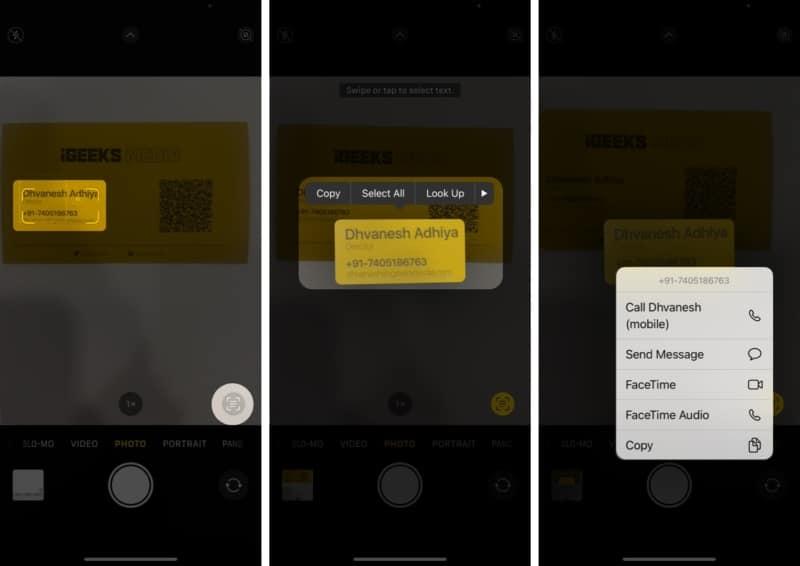 So rufen Sie direkt per Live-Text auf dem iPhone und iPad an oder senden eine E-Mail