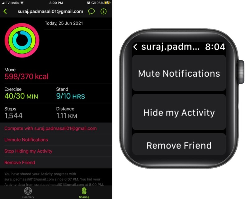 How to mute notifications, hide or stop sharing activity