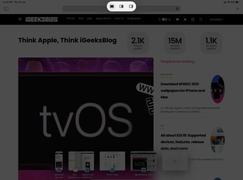 How to reveal the Multitasking Menu on iPadOS 15