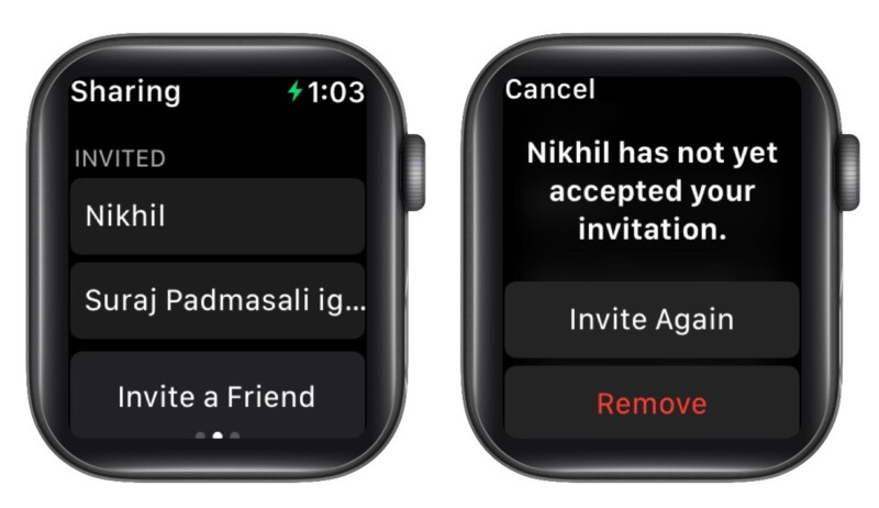 Invite Again or Remove for activity sharing on Apple Watch