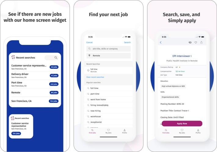 Job search: Simply hired best job search apps for iPhone screenshot