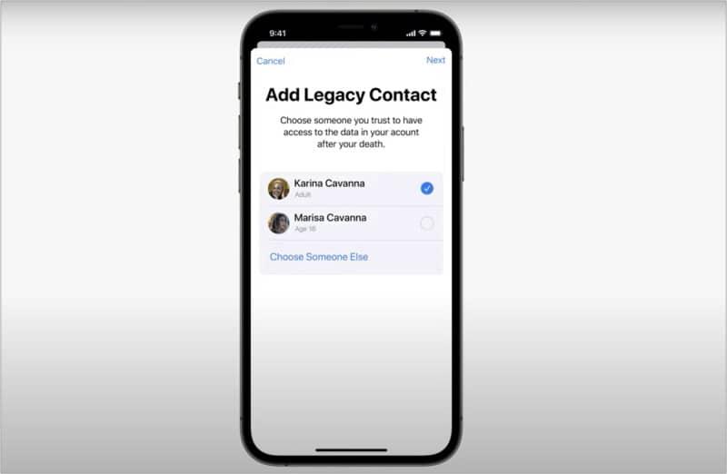 Устаревший контакт в iCloud Plus