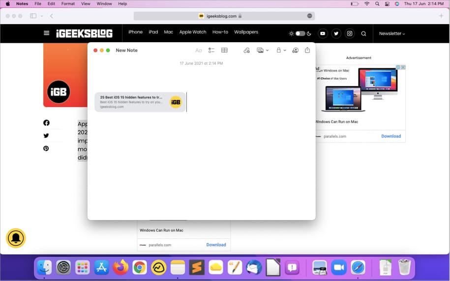 Link wird in der Quick Note auf dem Mac angezeigt