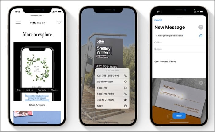 Live Text in photos on iPhone running iOS 15