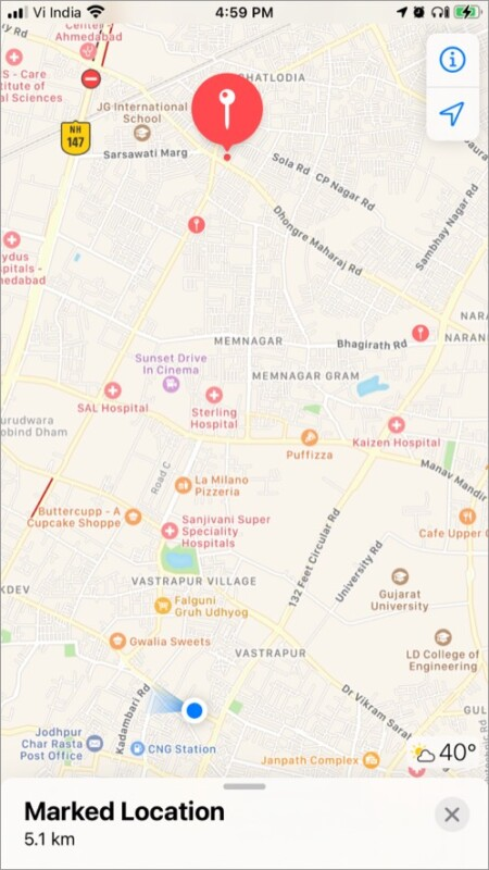 Marked location in Apple Map on iPhone