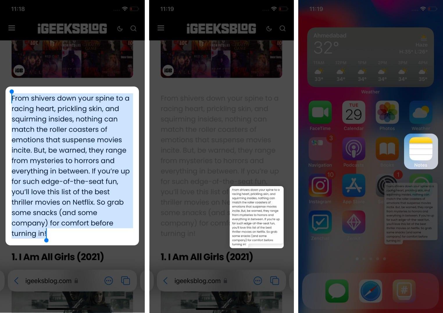 Перемещение элементов с помощью перетаскивания на iPhone