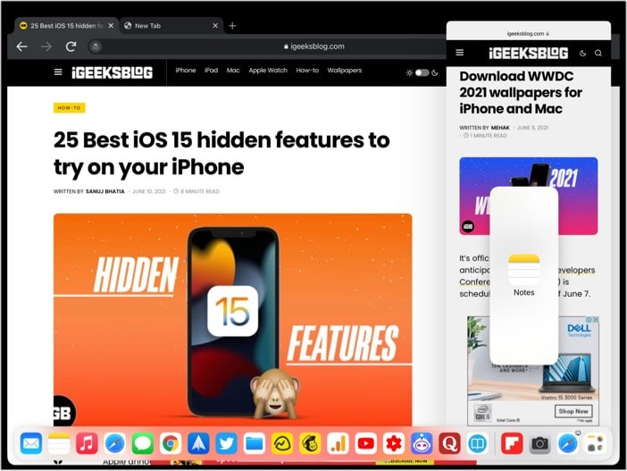 Open a different app in Slide Over on iPad