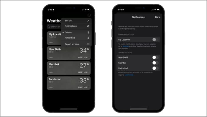 Rain and snow storm notifications in the Weather app in iOS 15