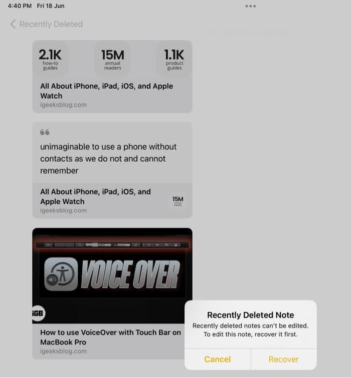 Schnelle Notiz auf dem iPad wiederherstellen