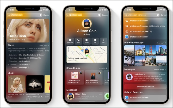 Redesigned look of Spotlight on iPhone with iOS 15
