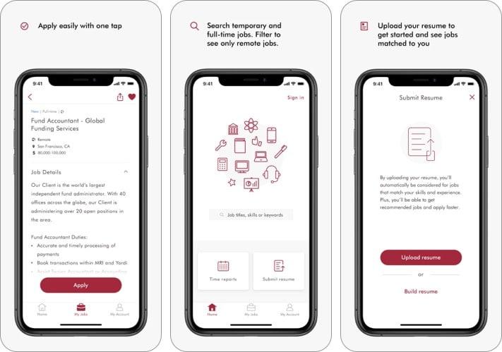 Roberthalf best job search apps for iPhone screenshot