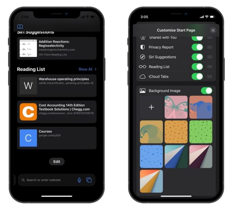 Safari backgrounds in iOS 15