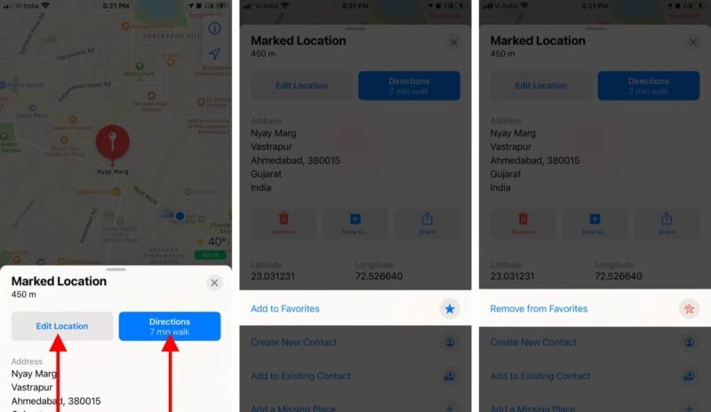 Save pins as favorites in the Apple Maps on iPhone
