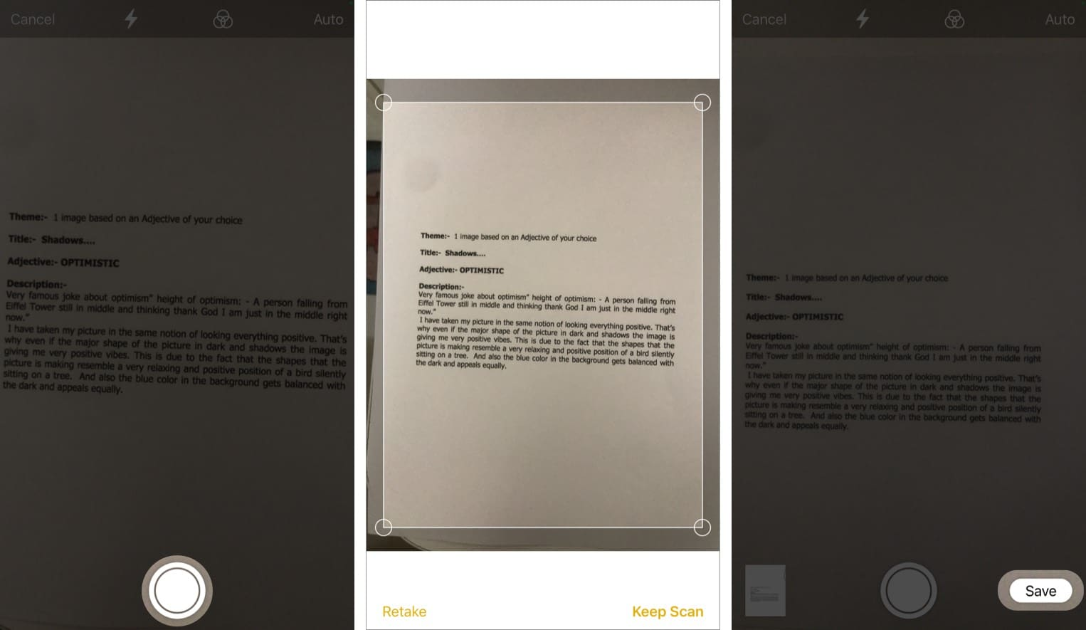 Save scanned document from notes app in iPhone